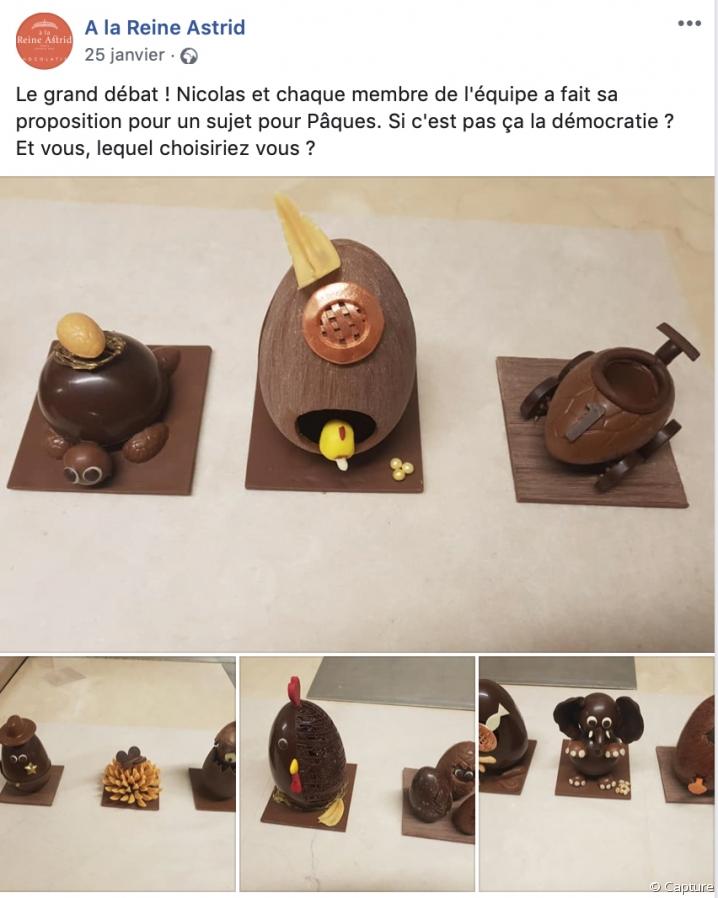 La chocolaterie A La Reine Astrid demande conseil concernant ses créations de Pâques
