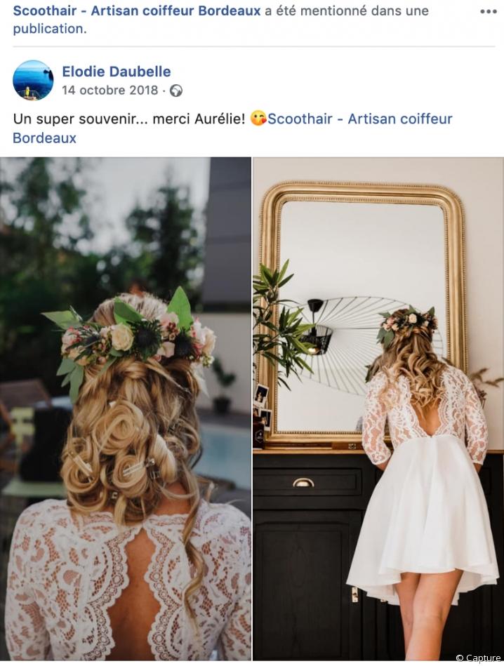 Une cliente de la coiffeuse à domicile Scoot'hair la remercie pour sa coiffure de mariée