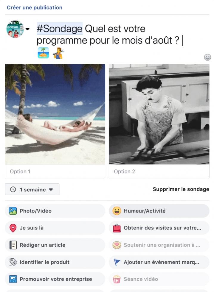 """Exemple de sondage simple sur Facebook autour du thème """"quel est votre programme pour les vacances"""" ? Plage ou travail ?"""